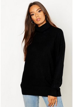 Roll Neck Knitted Oversized Jumper, Black Чёрный
