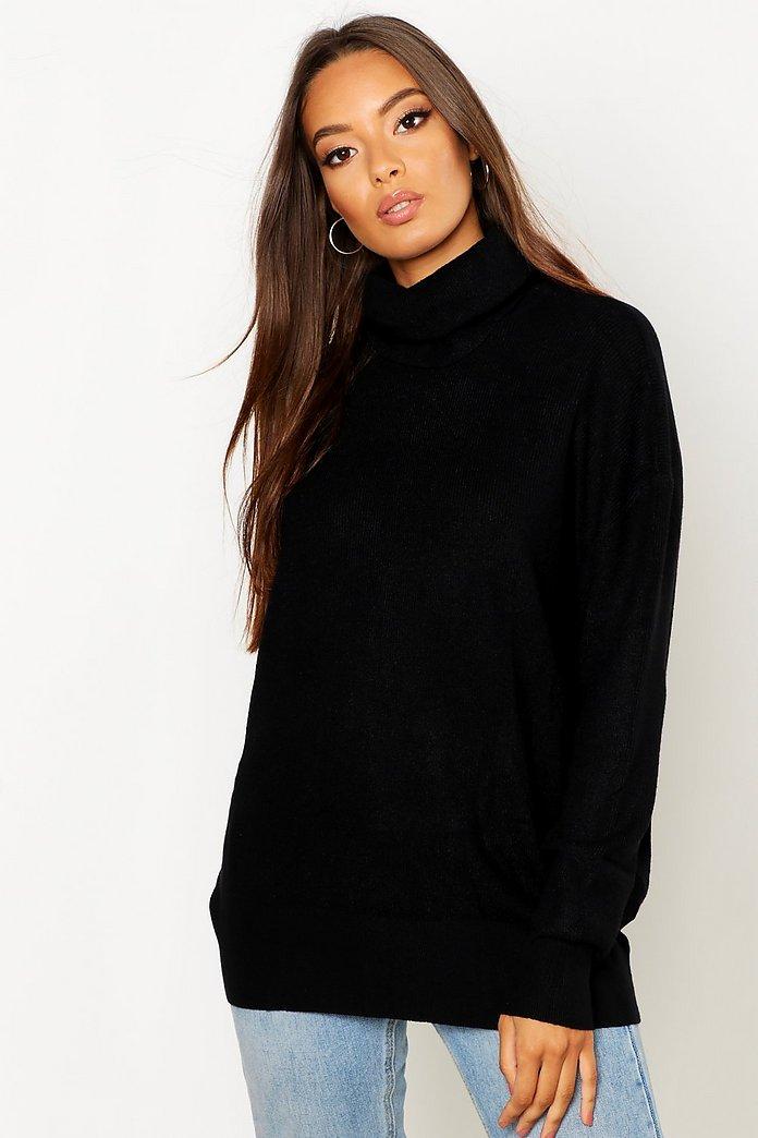 Oversize stickad tröja med polokrage | boohoo SE
