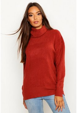 Rust orange Roll Neck Knitted Oversized Sweater
