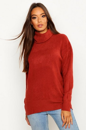 Rust orange Roll Neck Knitted Oversized Jumper