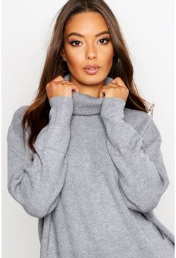 Silver Roll Neck Knitted Oversized Jumper