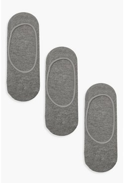 Grey 3 Pack Invisible Socks