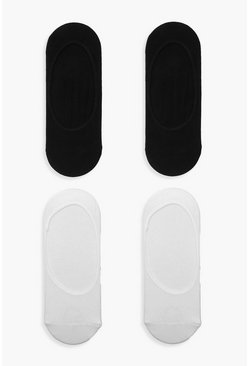 Multi Black & White Invisible Sock 4 Pack