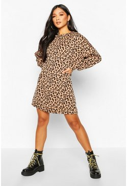 Camel Leopard Print Balloon Sleeve Oversized Sweatshirt Dress
