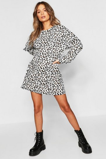 Ecru white Leopard Print Balloon Sleeve Oversized Sweatshirt Dress