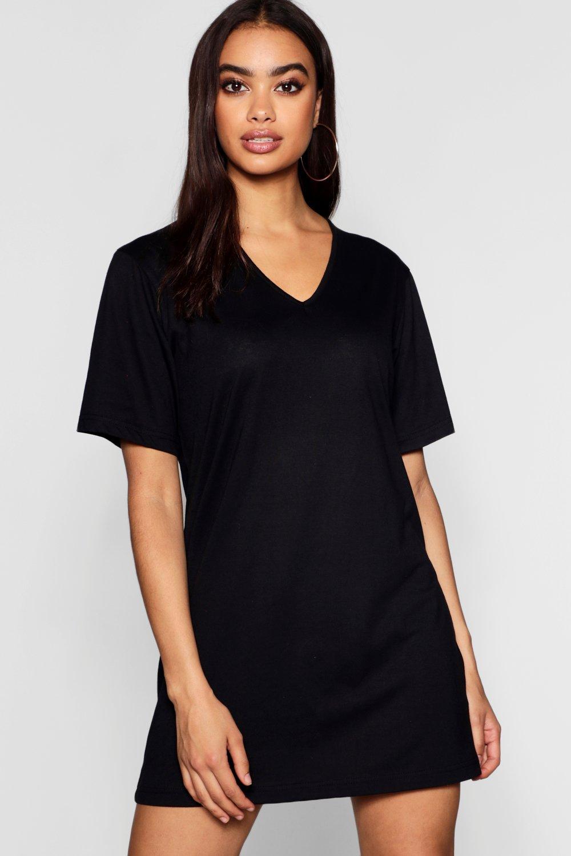 Cotton Oversized V-Neck T-Shirt Dress | boohoo