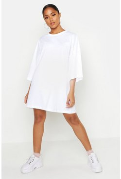 White Oversized 3/4 Sleeve T-Shirt Dress