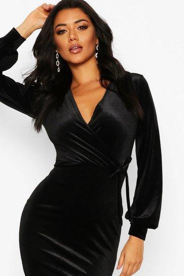 Largo make black velvet bodycon midi dress with sleeves bottom flare