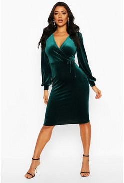 Emerald green Velvet Long Sleeve Bodycon Midi Dress