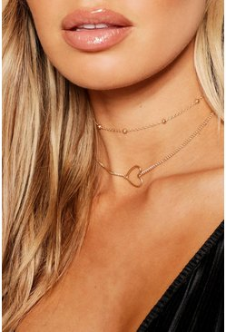 Gold metallic Heart & Chain Choker Pack