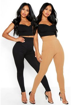 Camel beige Basic Jumbo Rib 2 Pack Leggings