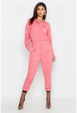 Pink Utility Denim Boilersuit