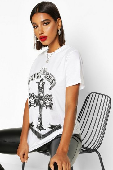 White Guns N Roses Oversized Licensed T-Shirt