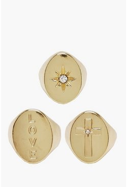 Love & Cross Gold Plated Signet Ring Set