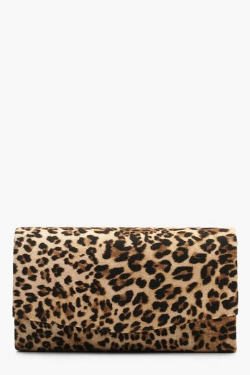 Natural beige Structured Leopard Envelope Clutch Bag & Chain
