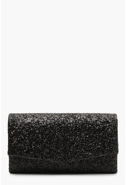 Black Structured Glitter Envelope Clutch Bag With Chain
