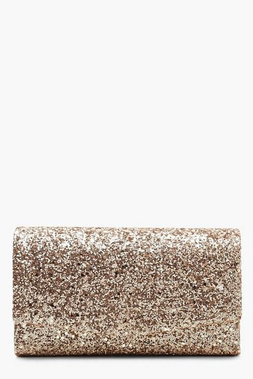Rose pink Structured Glitter Envelope Clutch Bag With Chain