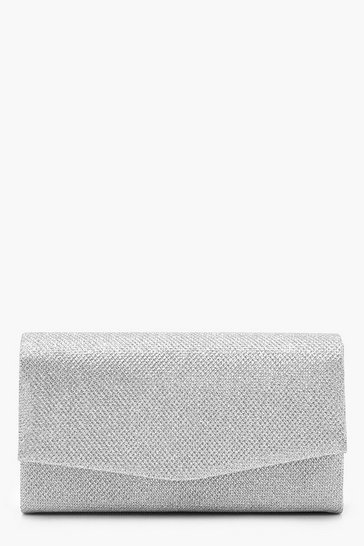 Silver Glitter Envelope Clutch Bag and Chain