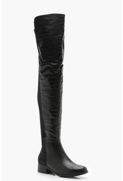 Black Croc Over The Knee Boots