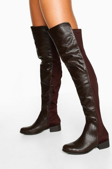 Chocolate brown Croc Over The Knee High Boots