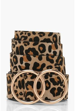Brown Leopard Belt With Gold Double Ring