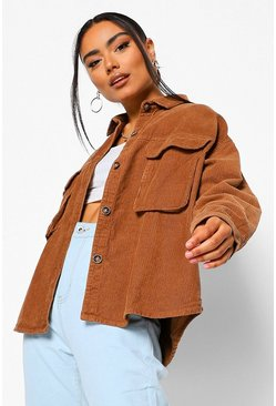 Chocolate brown Super Oversize Mock Horn Button Cord Shirt