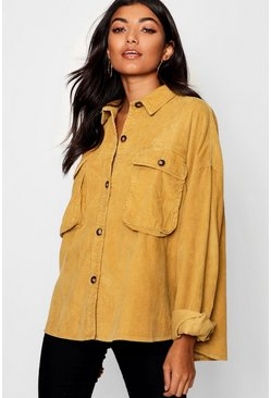 Mustard yellow Super Oversize Mock Horn Button Cord Shirt