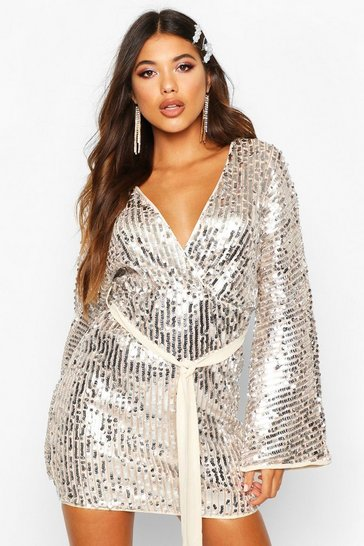 Silver Stripe Sequin Kimono Belted Bodycon Dress