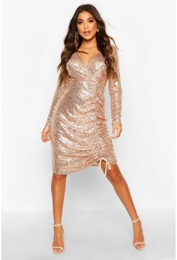 Rose pink Sequin Plunge Neck Ruched Midi Dress