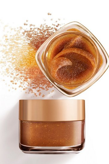 Bronze metallic L'Oreal Paris Sugar Glow Grapeseed Face And Lip Scrub 50ml