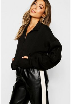 Black Zip Front Oversized High Neck Sweater
