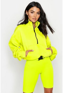 Neon-green neon Zip Front Oversized High Neck Sweater