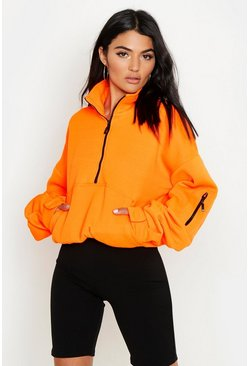 Neon-orange orange Zip Front Oversized High Neck Sweater