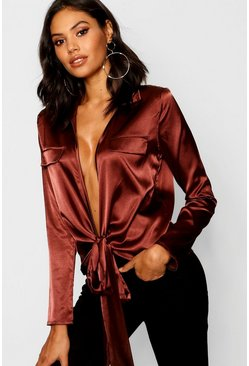 Chocolate Satin Utility Pocket Plunge Shirt
