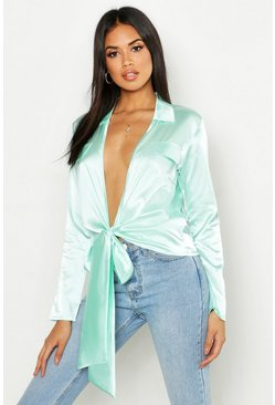 Mint green Satin Utility Pocket Plunge Shirt