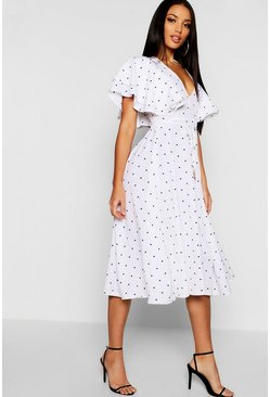 Ivory white Mini Polka Dot Ruffle Angel Sleeve Midi Dress