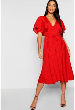 Red Mini Polka Dot Ruffle Angel Sleeve Midi Dress