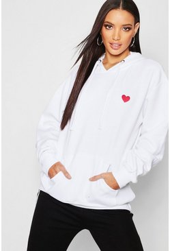 White Embroidered Oversized Hoodie