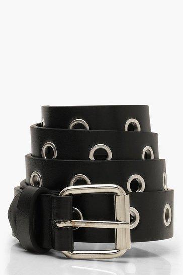 Black All Over Eyelet Boyfriend Belt