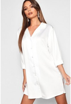 Ivory Luxe Satin Oversized Shirt Dress
