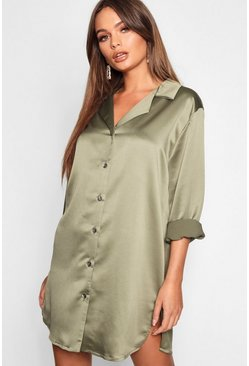 Khaki Luxe Satin Oversized Shirt Dress