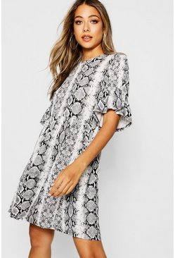 Grey Snake Print Ruffle Sleeve Smock Dress