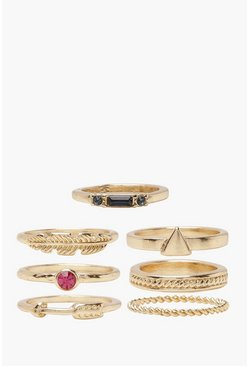 Gold metallic Simple Stackable Ring Pack