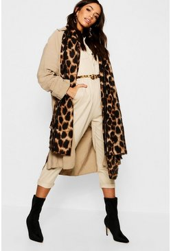 Brown Leopard Oversized Blanket Scarf