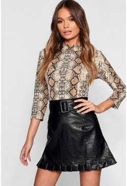 Black Belted PU Frill Hem Leather Look Mini Skirt