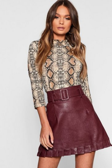 Burgundy red Belted PU Frill Hem Leather Look Mini Skirt