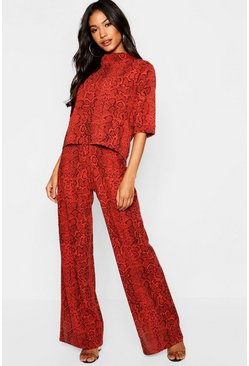 Rust orange High Neck Snake Print Top + Wide Leg Pants Two-Piece