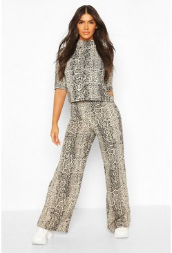 Stone beige High Neck Snake Print Top + Wide Leg Pants Two-Piece