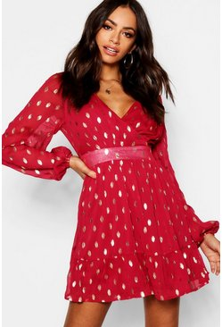 Berry red Wrap Front Metallic Polka Dot Skater Dress