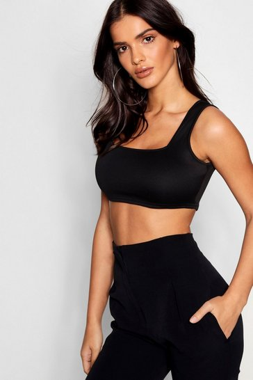 Black Basic Scuba Square Neck Bralet